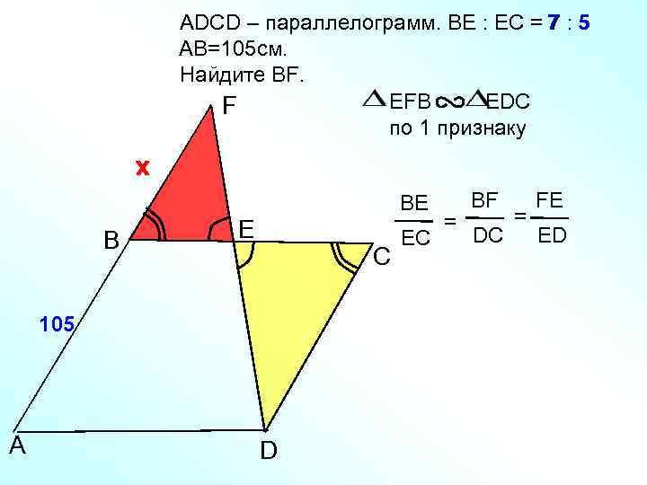 ADСD – параллелограмм. BE : EC = 7 : 5 AB=105 см. Найдите BF.