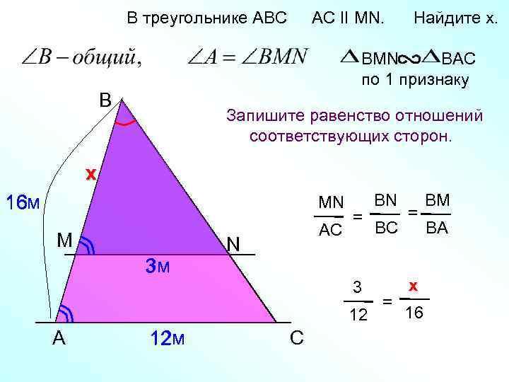 В треугольнике АВС AC II MN. Найдите x. BMN BAC по 1 признаку B