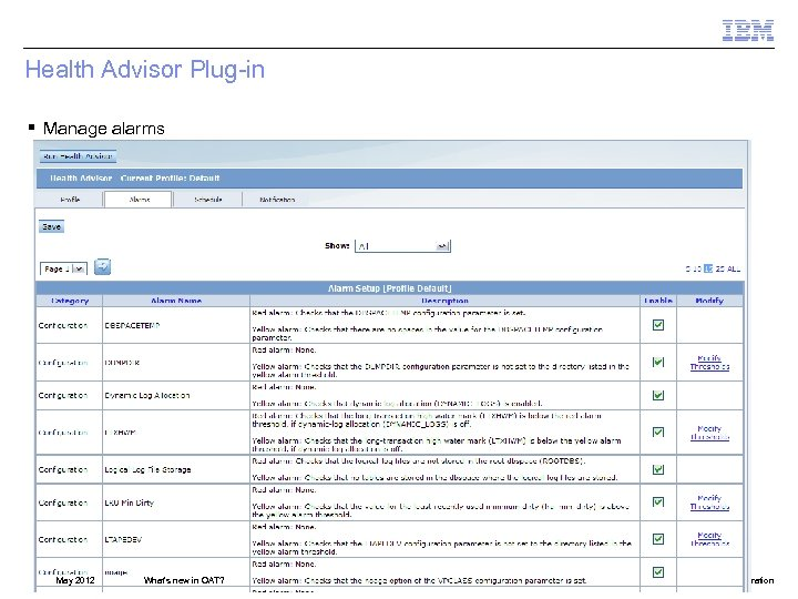 Health Advisor Plug-in § Manage alarms May 2012 What's new in OAT? © 2012