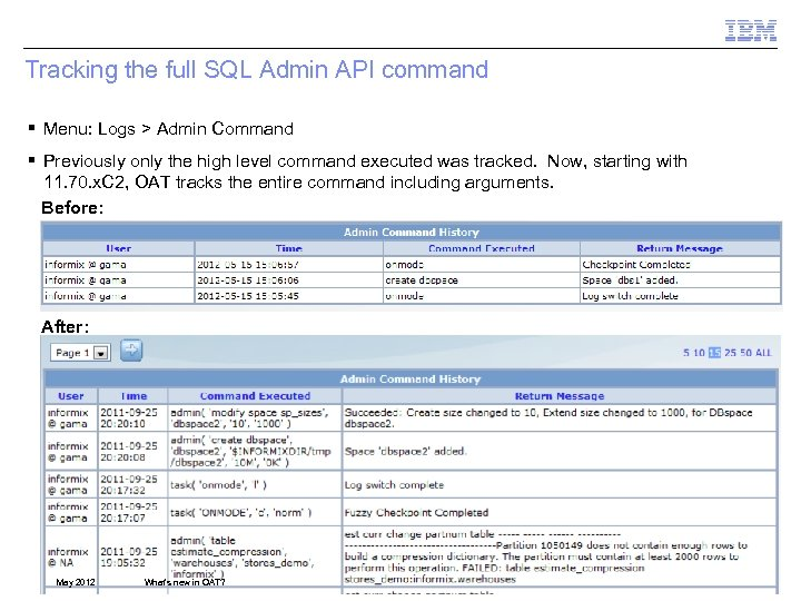 Tracking the full SQL Admin API command § Menu: Logs > Admin Command §