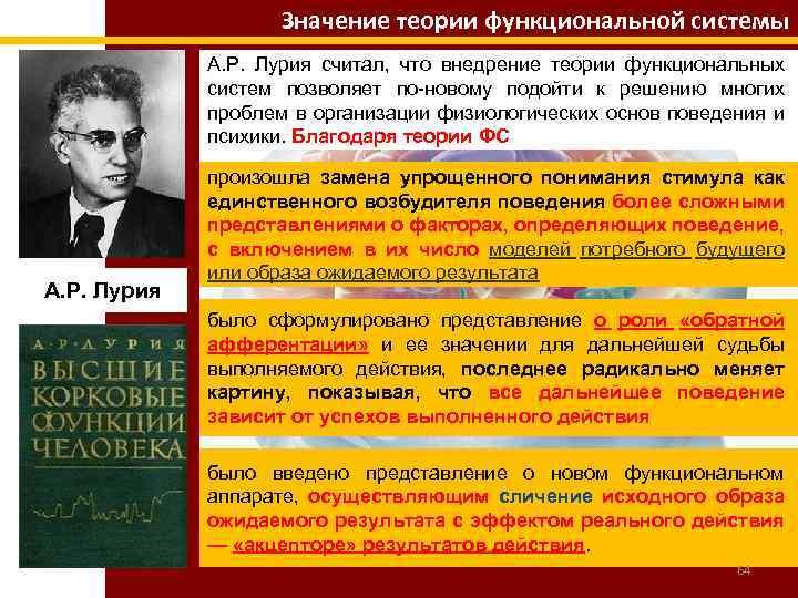 Значение теории функциональной системы А. Р. Лурия считал, что внедрение теории функциональных систем позволяет