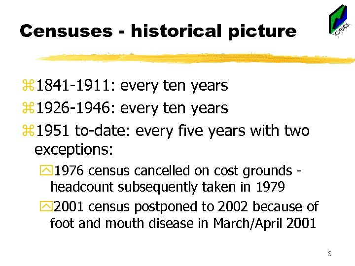 Censuses - historical picture z 1841 -1911: every ten years z 1926 -1946: every