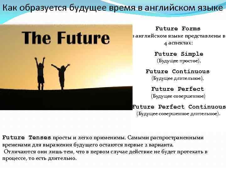 Как образуется будущее время в английском языке Future Forms в английском языке представлены в