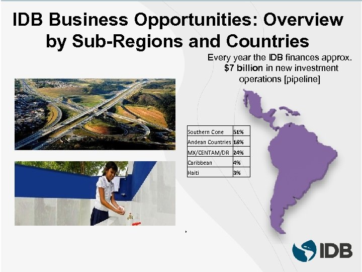 IDB Business Opportunities: Overview by Sub-Regions and Countries Every year the IDB finances approx.
