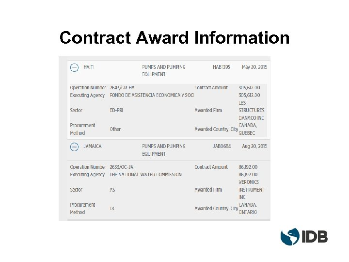 Contract Award Information