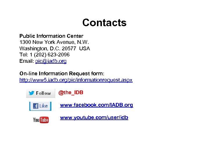 Contacts Public Information Center 1300 New York Avenue, N. W. Washington, D. C. 20577