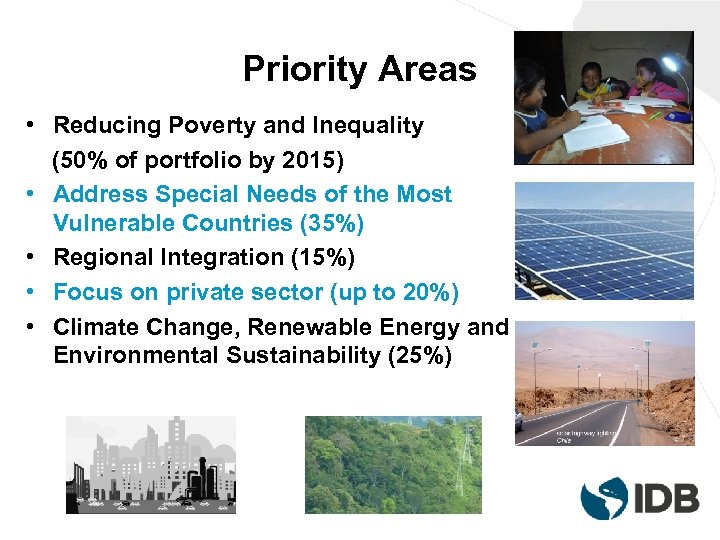 Priority Areas • Reducing Poverty and Inequality (50% of portfolio by 2015) • Address