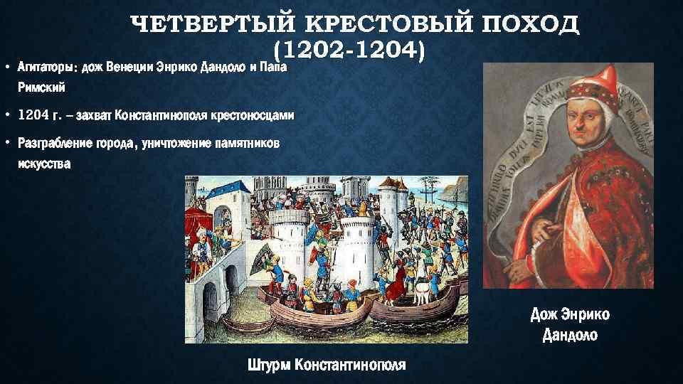 ЧЕТВЕРТЫЙ КРЕСТОВЫЙ ПОХОД (1202 -1204) • Агитаторы: дож Венеции Энрико Дандоло и Папа Римский