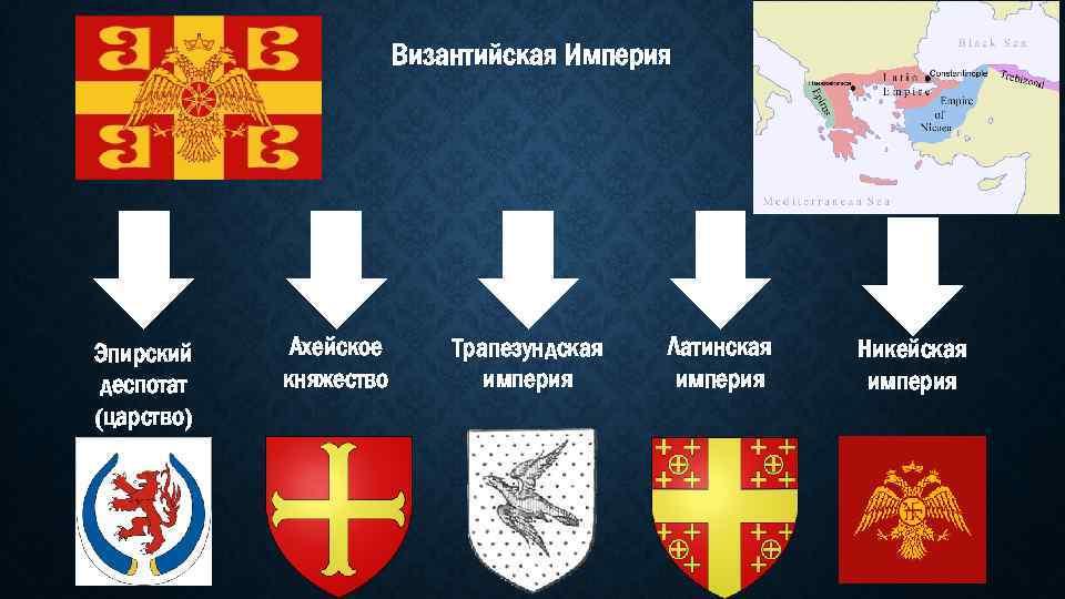 Византийская Империя Эпирский деспотат (царство) Ахейское княжество Трапезундская империя Латинская империя Никейская империя