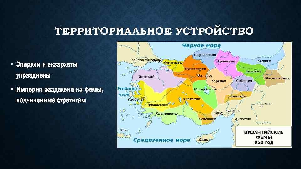 ТЕРРИТОРИАЛЬНОЕ УСТРОЙСТВО • Эпархии и экзархаты упразднены • Империя разделена на фемы, подчиненные стратигам