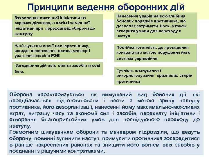 Принципи ведення оборонних дій Захоплення тактичної ініціативи на окремих ділянках, а потім і загальної