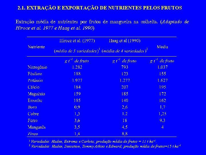 2. 1. EXTRAÇÃO E EXPORTAÇÃO DE NUTRIENTES PELOS FRUTOS Extração média de nutrientes por