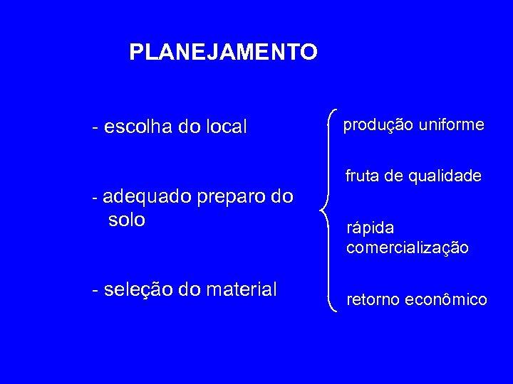 PLANEJAMENTO - escolha do local - adequado preparo do solo - seleção do material