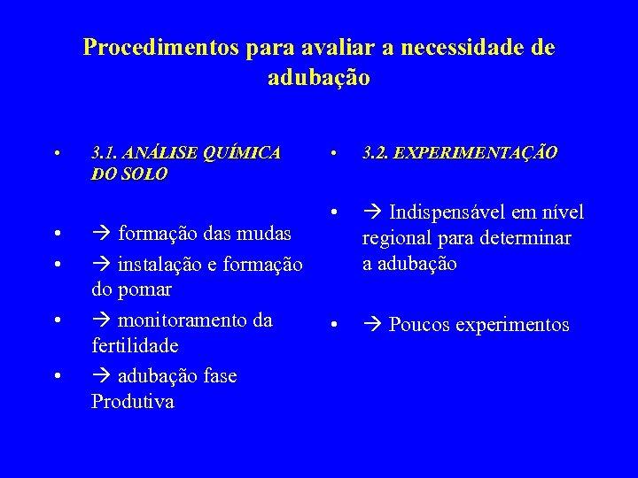 Procedimentos para avaliar a necessidade de adubação • • • 3. 1. ANÁLISE QUÍMICA