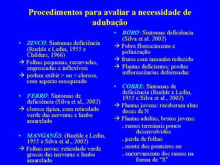 Procedimentos para avaliar a necessidade de adubação • ZINCO: Sintomas deficiência (Ruehle e Ledin,