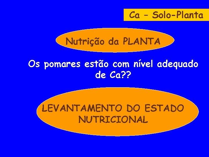 Ca – Solo-Planta Nutrição da PLANTA Os pomares estão com nível adequado de Ca?