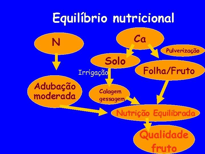 Equilíbrio nutricional Ca N Solo Irrigação Adubação moderada Pulverização Folha/Fruto Calagem gessagem Nutrição Equilibrada