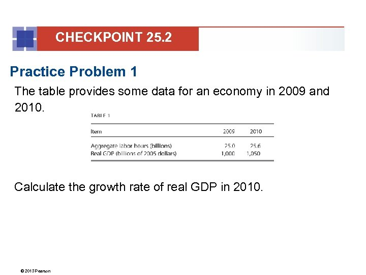 CHECKPOINT 25. 2 Practice Problem 1 The table provides some data for an economy