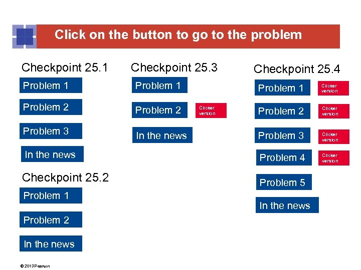 Click on the button to go to the problem Checkpoint 25. 1 Checkpoint 25.