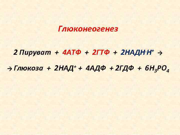 Глюконеогенез 2 Пируват + 4 АТФ + 2 ГТФ + 2 НАДН. Н+ →
