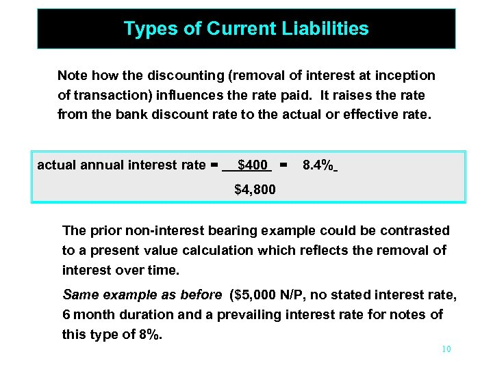 Types of Current Liabilities Note how the discounting (removal of interest at inception of
