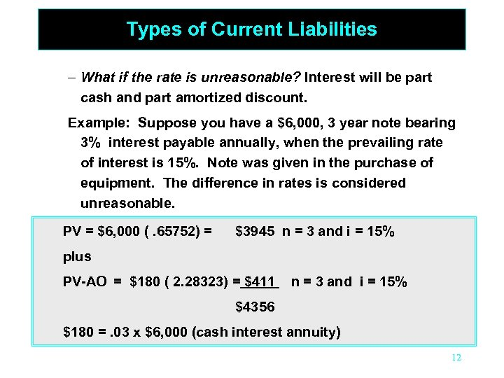 Types of Current Liabilities – What if the rate is unreasonable? Interest will be