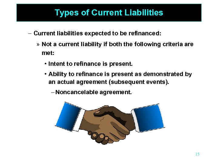 Types of Current Liabilities – Current liabilities expected to be refinanced: » Not a