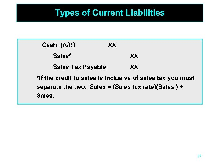 Types of Current Liabilities Cash (A/R) XX Sales* XX Sales Tax Payable XX *If