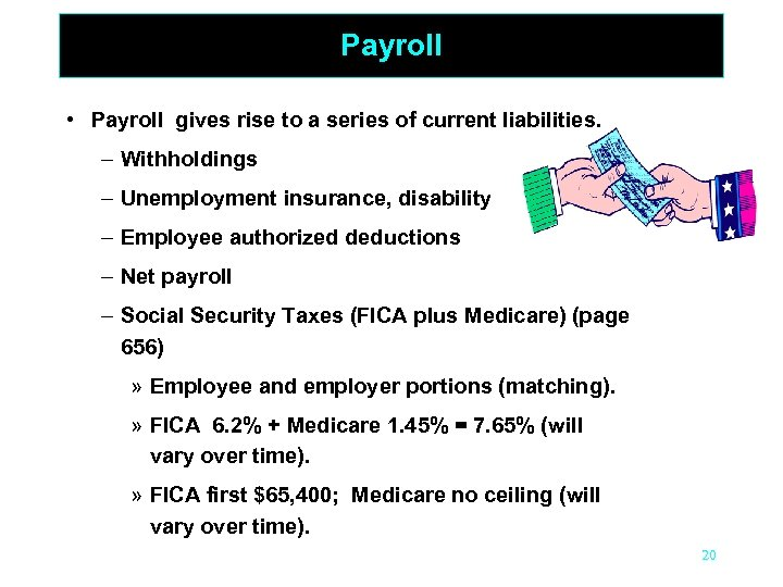 Payroll • Payroll gives rise to a series of current liabilities – Withholdings –