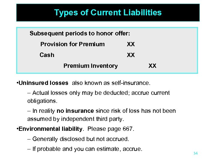 Types of Current Liabilities Subsequent periods to honor offer: Provision for Premium XX Cash