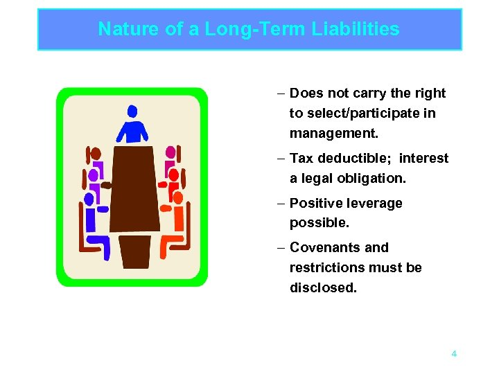 Nature of a Long-Term Liabilities – Does not carry the right to select/participate in