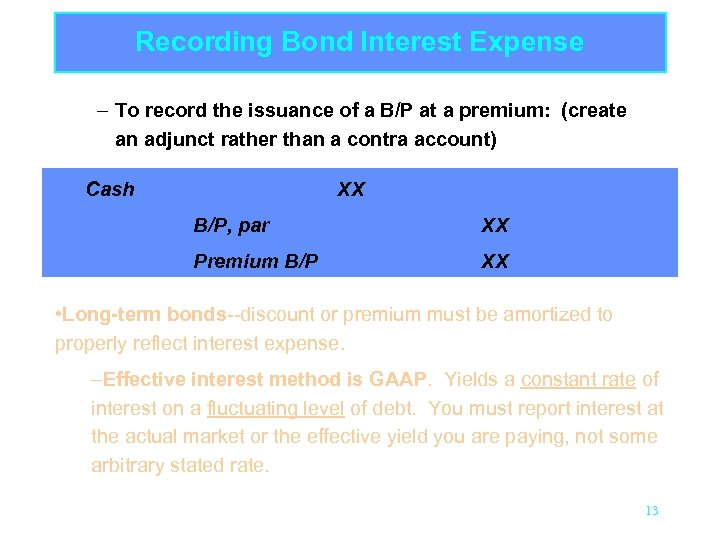 Recording Bond Interest Expense – To record the issuance of a B/P at a