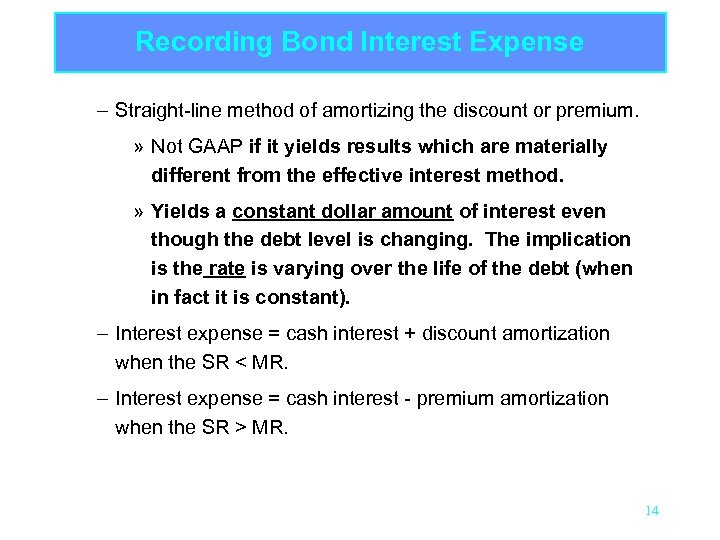 Recording Bond Interest Expense – Straight-line method of amortizing the discount or premium. »