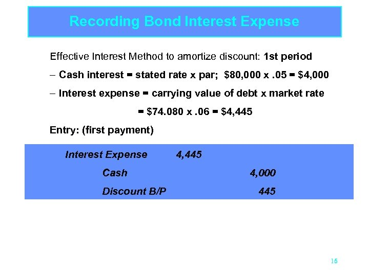 Recording Bond Interest Expense Effective Interest Method to amortize discount: 1 st period –