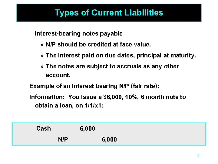 Types of Current Liabilities – Interest-bearing notes payable » N/P should be credited at
