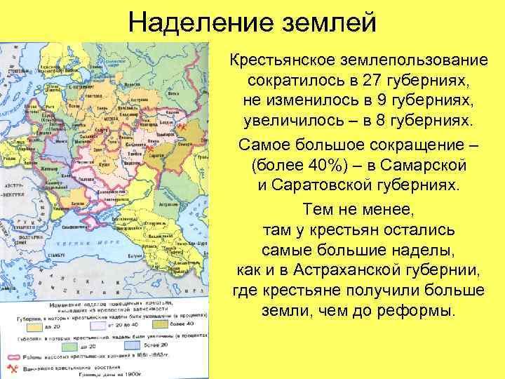 Наделение землей Крестьянское землепользование сократилось в 27 губерниях, не изменилось в 9 губерниях, увеличилось
