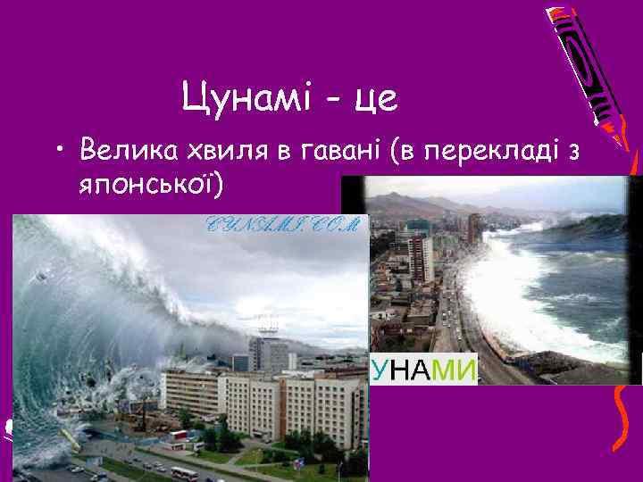 Цунамі - це • Велика хвиля в гавані (в перекладі з японської)