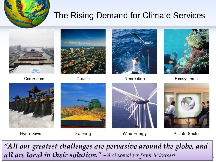 The Rising Demand for Climate Services Commerce Hydropower Coasts Recreation Ecosystems Farming Wind Energy