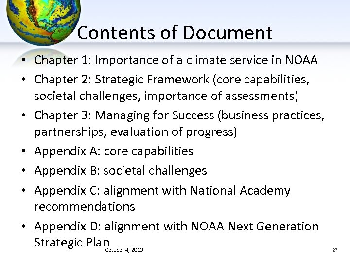 Contents of Document • Chapter 1: Importance of a climate service in NOAA •