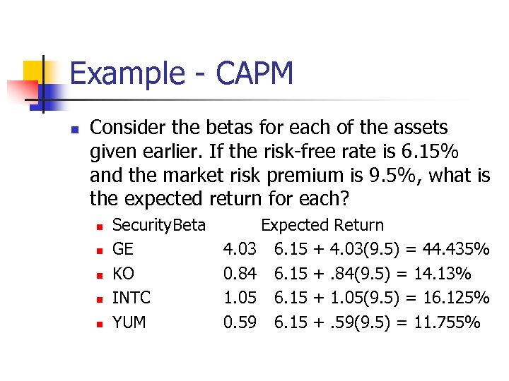 Example - CAPM n Consider the betas for each of the assets given earlier.