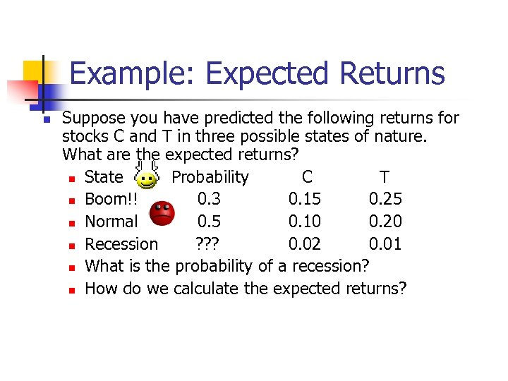Example: Expected Returns n Suppose you have predicted the following returns for stocks C