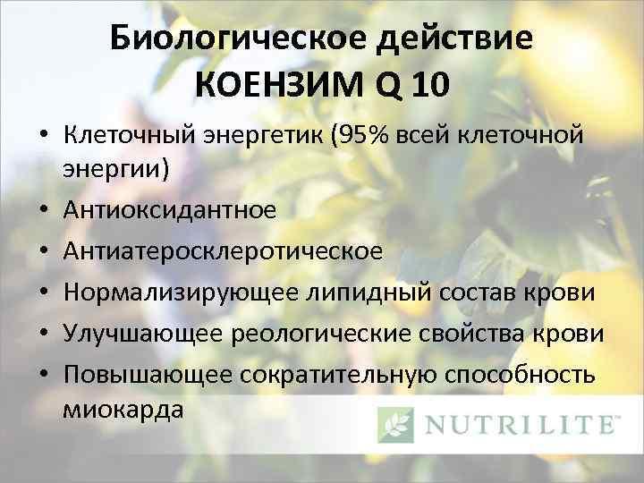 Биологическое действие КОЕНЗИМ Q 10 • Клеточный энергетик (95% всей клеточной энергии) • Антиоксидантное