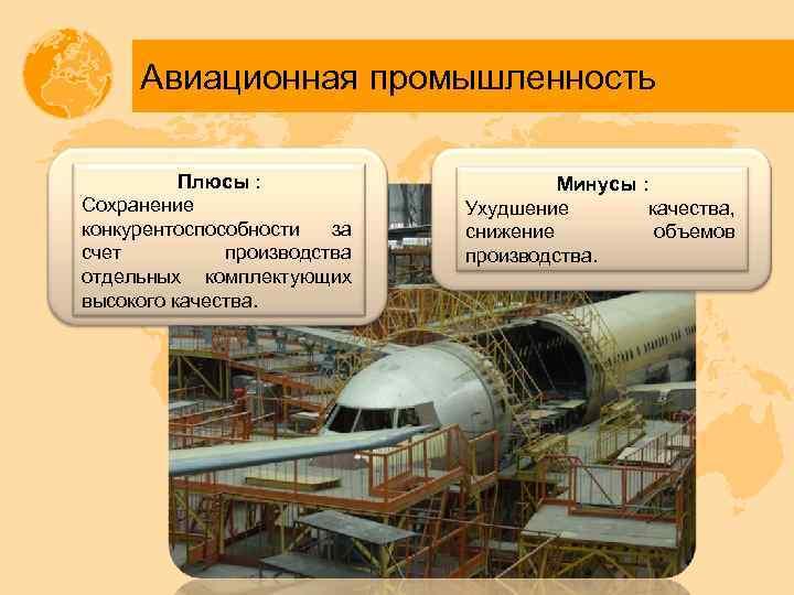 Авиационная промышленность Плюсы : Сохранение конкурентоспособности за счет производства отдельных комплектующих высокого качества. Минусы