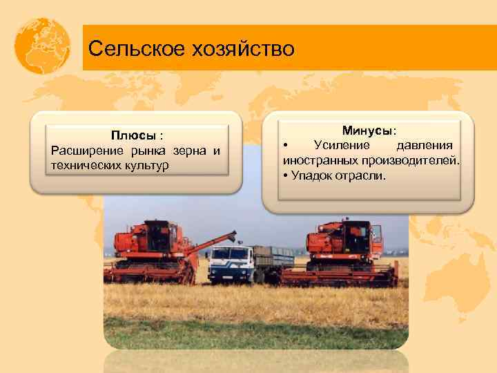 Сельское хозяйство Плюсы : Расширение рынка зерна и технических культур Минусы: • Усиление давления
