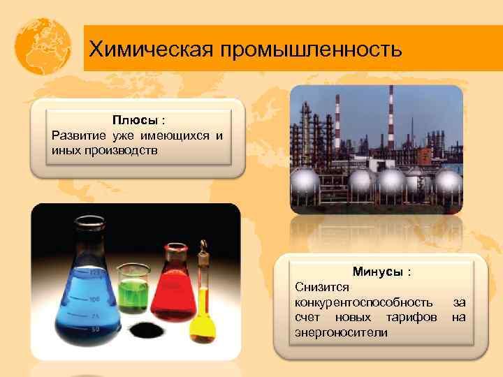 Химическая промышленность Плюсы : Развитие уже имеющихся и иных производств Минусы : Снизится конкурентоспособность