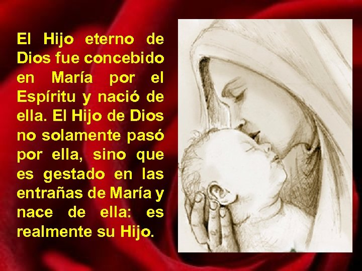 El Hijo eterno de Dios fue concebido en María por el Espíritu y nació