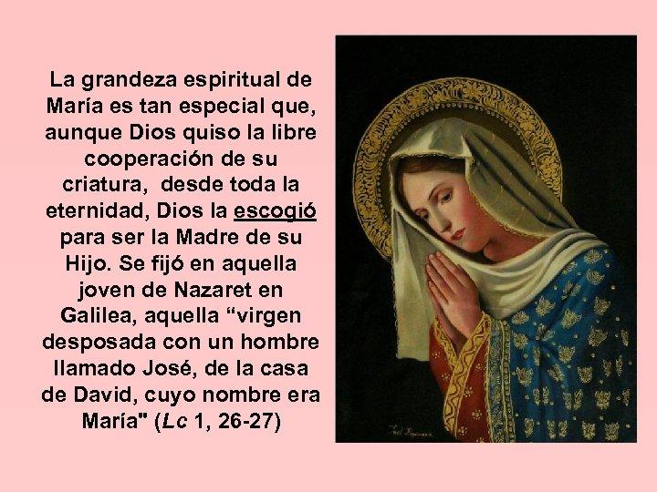 La grandeza espiritual de María es tan especial que, aunque Dios quiso la libre