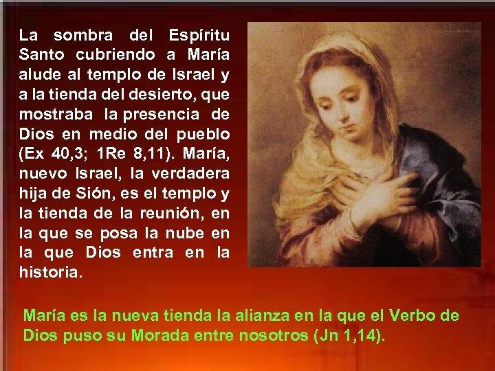 La sombra del Espíritu Santo cubriendo a María alude al templo de Israel y