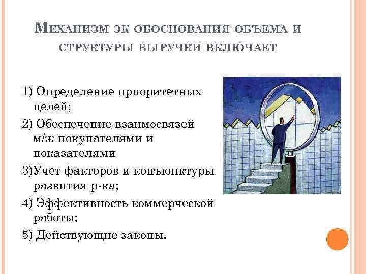 МЕХАНИЗМ ЭК ОБОСНОВАНИЯ ОБЪЕМА И СТРУКТУРЫ ВЫРУЧКИ ВКЛЮЧАЕТ 1) Определение приоритетных целей; 2) Обеспечение