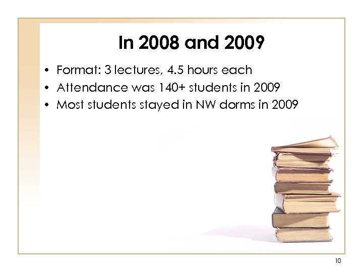 In 2008 and 2009 • Format: 3 lectures, 4. 5 hours each • Attendance